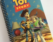 Journal Notebook DISNEY TOY STORY book Upcycled Recycled  Woody Buzz blue red spiral bound