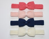 Hand Knitted Baby Toddler Girls Headband with Large Knitted Bow sizes NB to 3Yrs  Custom Colour Made to Order