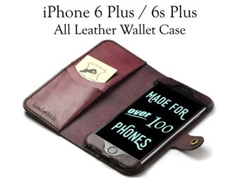 iPhone 6s Plus Leather Wallet Case/ Leather iPhone 6 Plus Case / Leather iPhone Wristlet