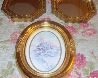 Gold , Syroco, Mirror, Syroco Oval picture,  Gold frames, accent mirrors, oval picture, Ornate Frame