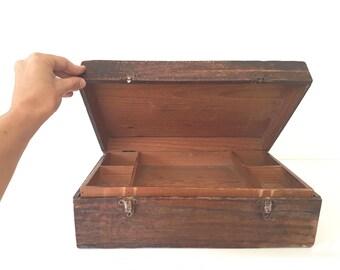 RARE - ANTIQUE - stunning wood suitcase - box  - tool case