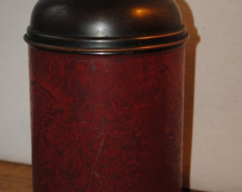 Bostonian Robbins Co Tobacco Humidor - Copper and Red Leather Humidor - Tobacciana Collectible - Cigar Humidor - Pipe Tobacco Humidor