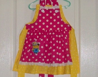 Child size  Legends Minion  Apron  Yellow, pink polka dots Despicable Me