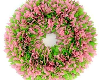 Pink and Green Wreath - Indoor Outdoor Wreath - Door Wreath - Outdoor Wreath - Spring Wreath - Summer Wreath - Waterproof Wreath