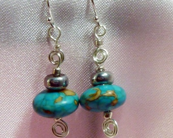Turquoise and  Silver Artistic wire wrap earrings
