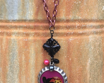 Vintage Inspired Upcycled Happy Halloween Raven And Jack O' Lantern Halloween Necklace 1899