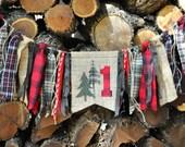 Lumberjack/woodland/camping party, first birthday highchair rag banner, black/red buffalo plaid flannel & burlap birthday decor/photo prop