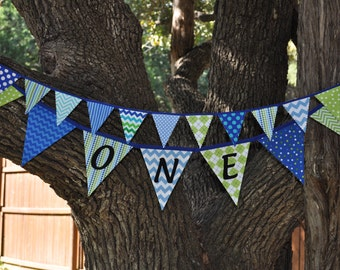 Boys blue and green ONE fabric pennant banner bunting/Cake smash photo prop/boys room, first/1st birthday party decor, flag garland, I am 1