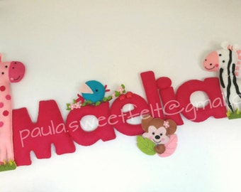 Pink safari Sign / Name Banner / wild animals wall decor / girafe / zebra / monkey / babyoom decor / door hanger sign