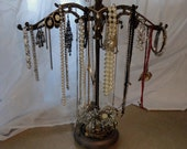 jewlery holder necklace display one of a kind recycled repurposed antique lamp parts designed by Mary