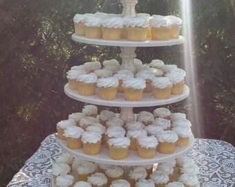 Cupcake Stand, Cake Stand, Wedding Cupcake Stand, 5 Tier Cupcake Stand, Wood Cupcake Stand, Round Cupcake Stand, Large Cupcake Stand