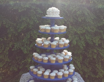 Cupcake Stand, Cupcake Tower, Wood Cupcake Stand, Round Cupcake Stand, Cake Stand, 6 Tier Stand, Nautical Wedding, Royal Blue, Any Color