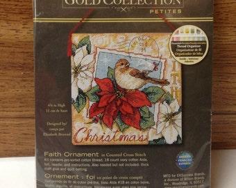 Faith Ornament, Christmas, Ornaments, birds, poinsetta, Holiday ornament, Christmas gift