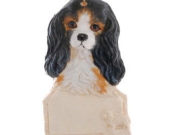 Cavalier King Charles Christmas Personalized Ornament - Black Tan and White Cavalier King Charles Dog Ornament - Made in the USA  (259)