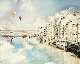 Fairytale Photography, Italy, Florence, Clouds, Bridge, Skies, Hot Air Balloons, Ethereal Art, Large Wall Print, Reflection in the Water
