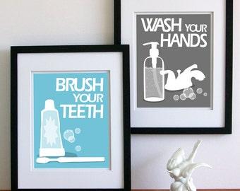 Childrens Bathroom Art Prints - pick any 2 -custom colors- kids bath rules. bathroom signs
