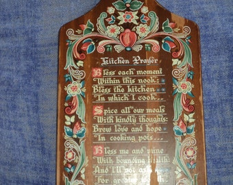 Vintage Pennsylvania Dutch Wooden Cutting Board with a Kitchen Prayer transfer print on one side with a wonderful well developed patina