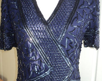 Vintage Navy Blue Formal Beaded Evening Gown in Good Condition, Great for  A True Blue Bride, The Mother of the Groom or a Vintage Wedding
