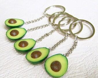 Avocado keychains. Set of 5.  Size avocado - 1 inch.
