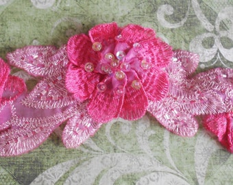 Pink Stitched Double Layered Flower Appliques