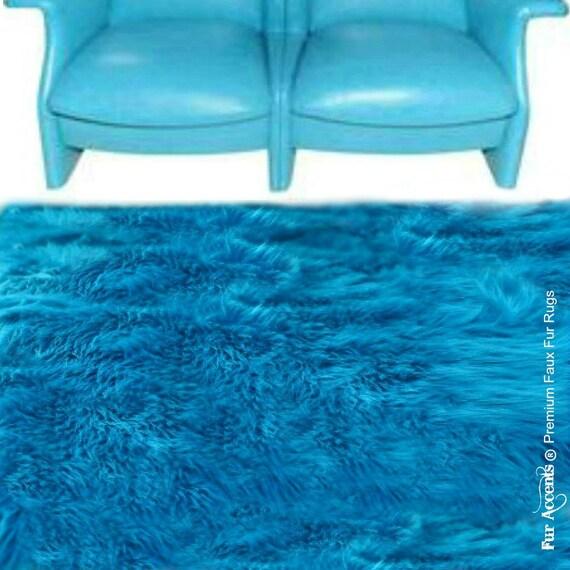 Faux Fur Area Rug Rectangle Shaggy Soft Turquoise Shag