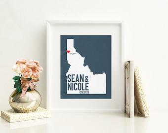 Idaho Wedding Gift - Personalized City State and Heart Silhouette - Custom Wedding Date - Location Modern Art Print - 8x10 Boise