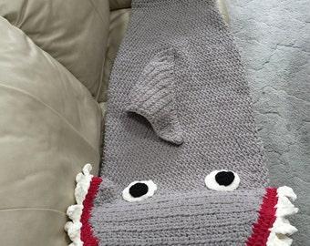 Crocheted Shark Sleeping Bag ~ Shark Blanket ~ Child ~Teenage Shark Blanket ~ Boy's Birthday Gift ~ Shark ~ Beach Blanket ~ Shark Fans