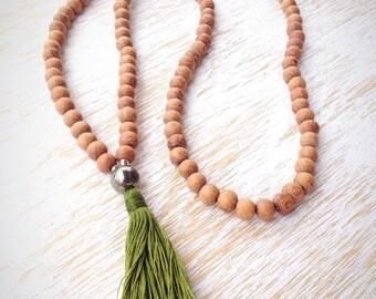 Raw Wood Mala Bead Necklace, Pyrite Mala Beads, 108 Mala Beads, Mala Necklace, Mala Beads 108, Buddhist Jewelry, Wooden Mala Beads, Pyrite