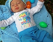 First Easter One with Blue Bunny Digital Download for iron-ons,heat transfers, T-Shirts, Onesies, Bibs, Towels, Aprons, DIY YOU PRINT