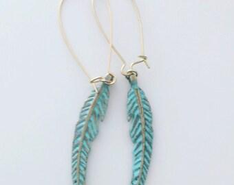 Feather Earrings, Patina Feather, Boho, Gypsy, Bohemkan Jewelry
