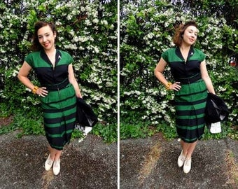 Amazing 1940's Early 1950's Green and Black Stripes Shirtwaist Style Dress - Size S-M