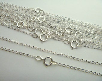 5 pcs Sterling Silver Flat Cable Chain with Spring Ring 20 inches 1.5mm