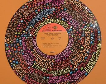 Jimi Hendrix Are You Experienced Lyrics Handpainted on Vinyl Record