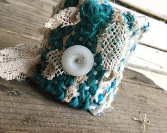 Woven silk cuff in blue and white   tattered textile cuff, romantic cuff, salvaged fabric, loom woven cuff, textile jewelry