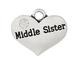 Middle Sister Charms - Antique Silver - Clear Rhinestone - 17x14mm - 5pcs - Ships IMMEDIATELY from California - SC1220