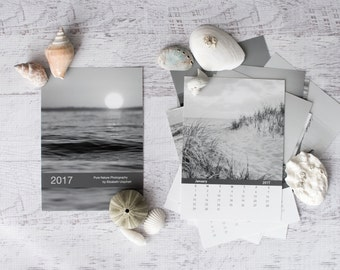 2017 Calendar, Black and White 4x6 Loose Leaf Calendar, Ocean Photography Calendar, 2017 5x7 Beach Calendar, Coastal Desk Calendar Small