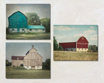 Barn Picture Set of Three Photos, Farm Photography, Rustic Wall Art, Modern Farmhouse Artwork, Country Photograph Set of 3 Prints