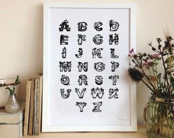 Tree Blossom Alphabet A3 Digital Monochrome Print
