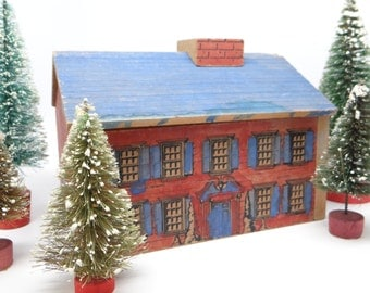 Early 1900's Wooden House, Antique Wood Play House with Lithograph
