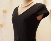 SALE - Sleeve Black Dress Tea Length Dress Modest Dress Church Dress Working Dress Vintage Inspired Party Dress - Size L