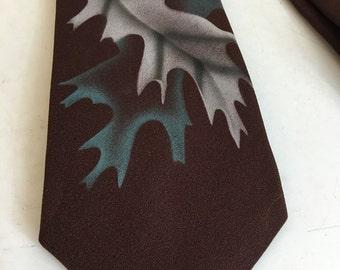 Vintage 50s Hand Painted Tie Leaf Print Brown Blue Menswear A261