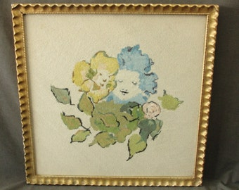 "Vintage 19"" Square Framed Pettipoint Flowers w/ Faces"