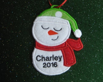 Personalized Snowman 9 Ornament or Gift Tag - Sleepy Eyed