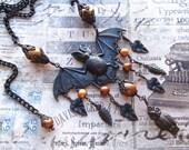 Black Bat Bib, Black Brass Bib, Bat and Beads Bib, Flying Bat Necklace, Black and Rust Bib, Flash Bat Bib, Halloween Bib, Bat & Dangles Bib