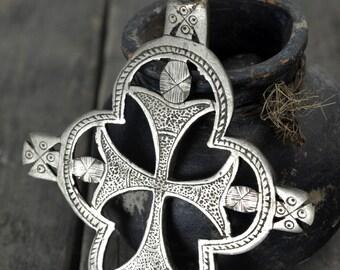 Ethiopian silver Pendant , 4 wings , Huge neck Cross