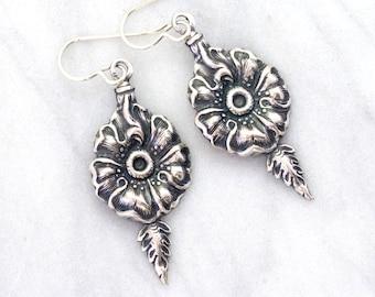 Silver Flower Earrings, Silver Floral Earrings, Silver Earrings, Nickel Free Earrings, Silver Drop Earrings, Silver Dangle Earrings, Ercilia