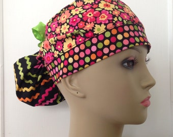 Women's Ponytail Surgical Scrub Cap - Petals, Dots and Waves