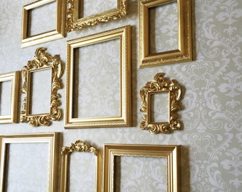 GOLD Wall Gallery PICTURE FRAMES -  Vintage Style - shabby chic wedding - Glass and Backing