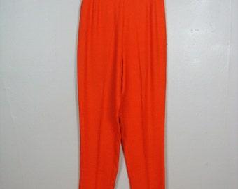 Vintage 1960s Cigarette Pants 60s Orange Rayon Pedal Pushers Size 6 26 Waist