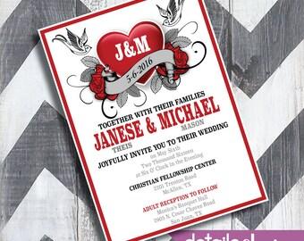ROCKABILLY ROSE Invitation, Wedding, Birthday, Rehearsal Dinner - Digital Download